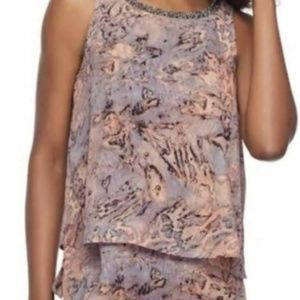 Juicy Couture Womens Brown Grey Black Flowy Blouse
